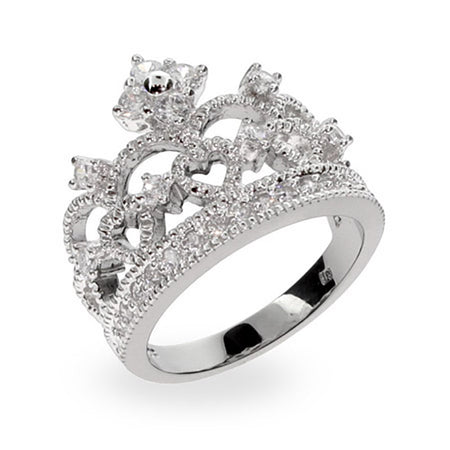 Crown Tiara Sterling Silver & CZ Ring
