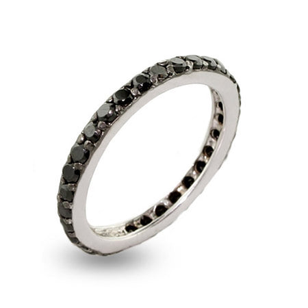 Black CZ Stackable Sterling Silver Ring