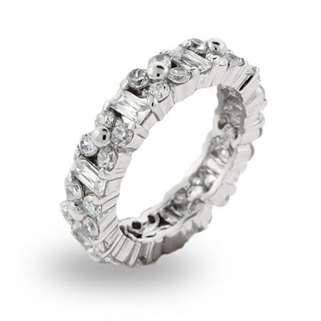 Emerald Cut and Flower CZ Stackable Band