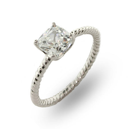 1 Carat Cushion Cut Solitaire CZ Sterling Silver Cable Ring