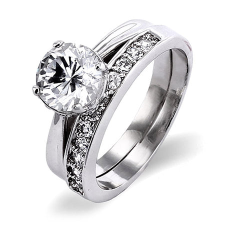 CZ Engagment Ring on CZ filled Band