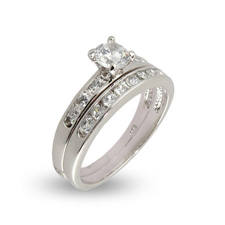 Simple Channel Set CZ Wedding Ring Set