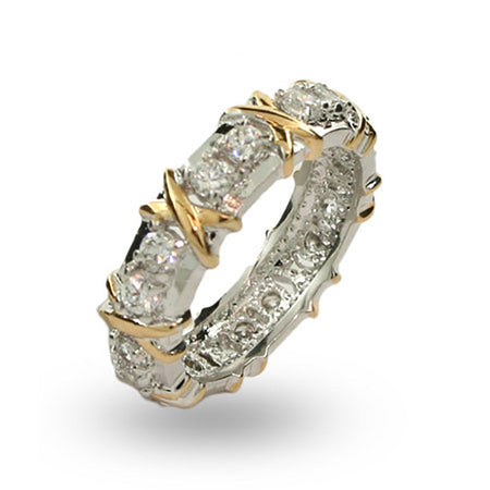 Designer Style 16 Stone Two Tone X Ring