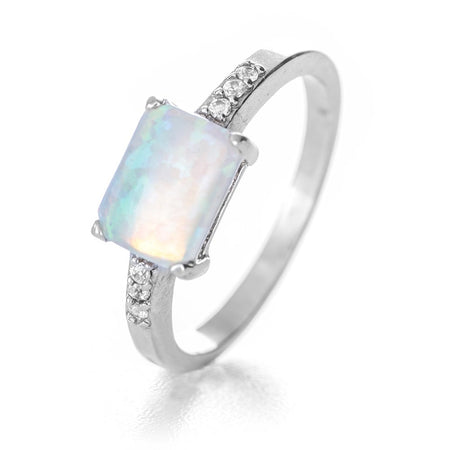 Rectangle Opal and CZ Accented Ring