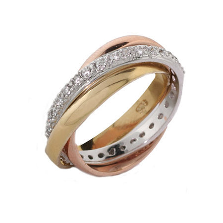 Triple Tone Russian Wedding Ring with CZ Band