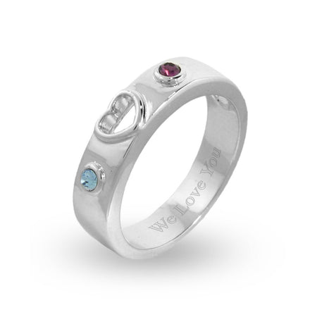 Custom Birthstone Couple's Promise Ring in Sterling Silver