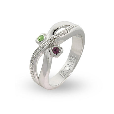 Couples Two Birthstone Engravable Infinity Designed Ring