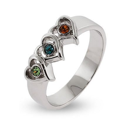 Silver 3 Birthstone Triple Heart Ring