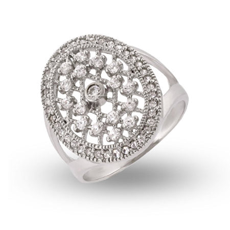 Vampire Style CZ Sterling Silver Engagment Ring