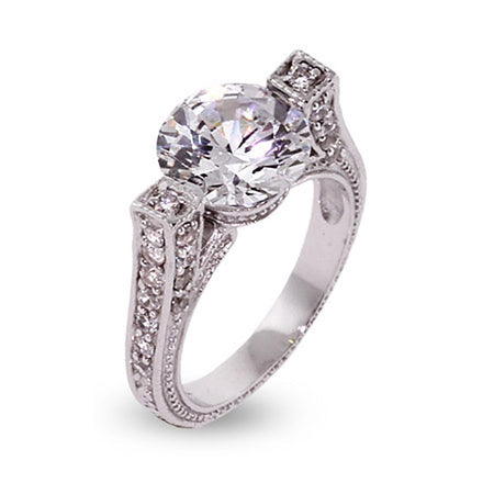 Vintage Style Brilliant Cut CZ Engagement Ring