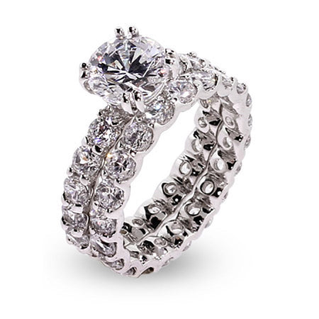 Brilliant Cut 9mm CZ Sterling Silver Engagement Set