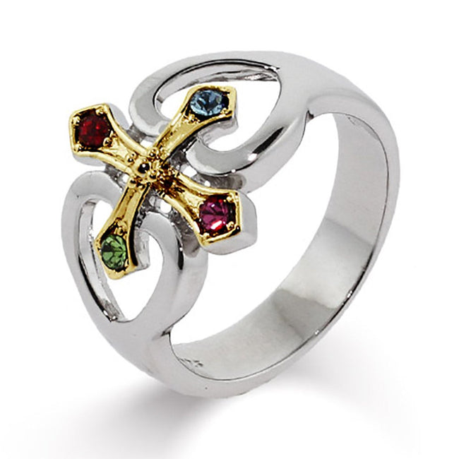 Sterling Silver Gold Cross with Four Hearts Birthstone Ring
