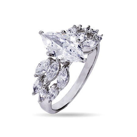 display slide 1 of 4 - Triple Row Marquise Cut CZ Engagement Ring - selected slide