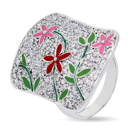 Designer Inspired Pave CZ Flower Cocktail Ring