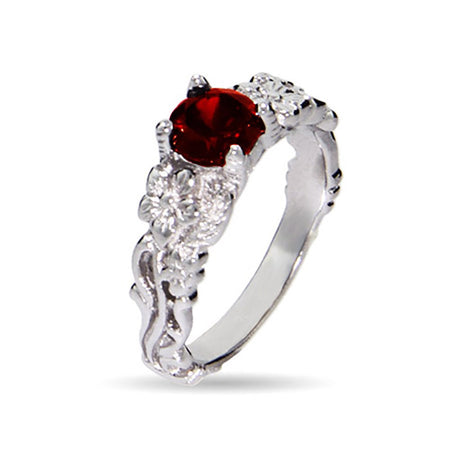 Vintage Inspired Garnet Ring with Cubic Zirconia