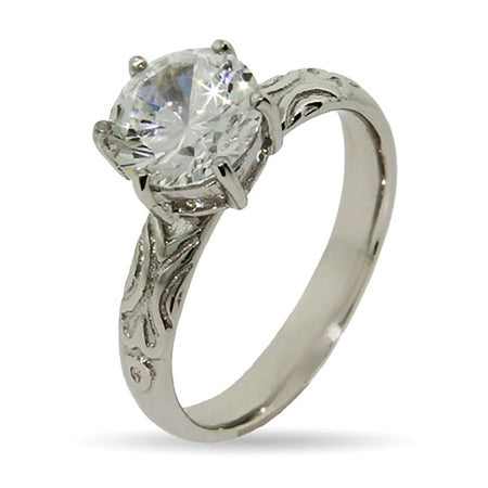 Brilliant Cut CZ with Detailed Band Stackable Ring