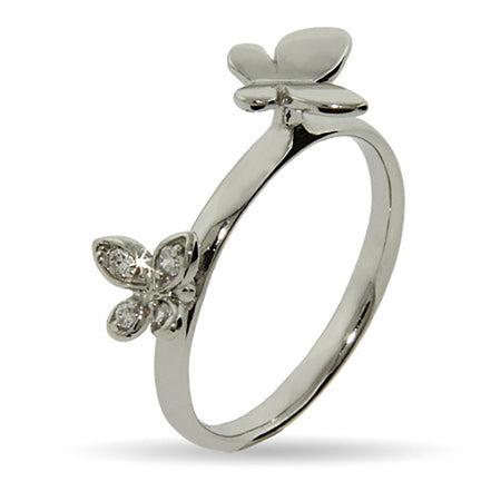 Double Butterflies Stackable Ring