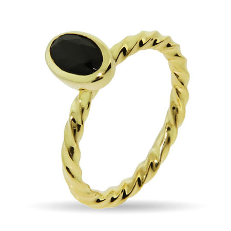 display slide 1 of 2 - Gold Vermeil Black Onyx Stackable Ring - selected slide