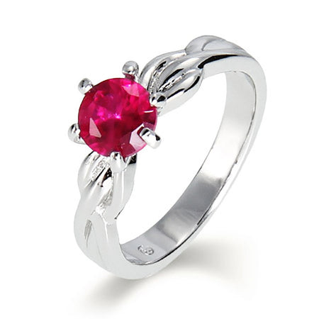 Single CZ Birthstone Ring with Sterling Silver Woven Band