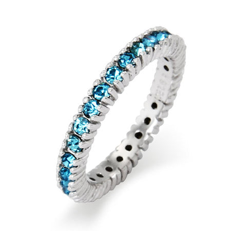 3mm Wide March Aquamarine CZ Birthstone Stackable Ring