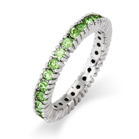 August Peridot Birthstone Silver Stackable Ring