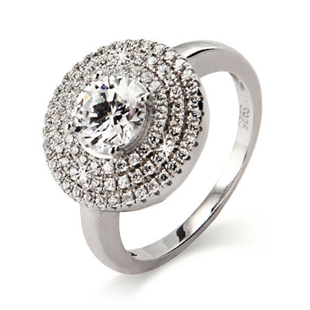 Stunning Brilliant Cut CZ Silver Ring with Micro Pave Border