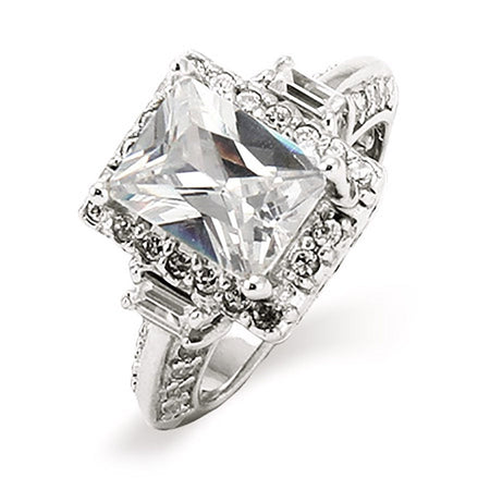 2.6 Carat Emerald Cut Diamond CZ Baguettes Engagement Ring