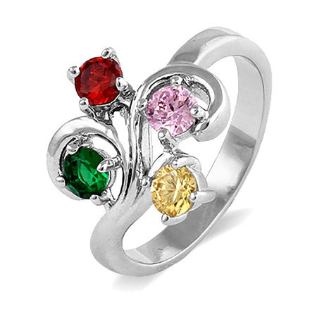 Close to the Heart 4 Stone Swirl Birthstone Ring