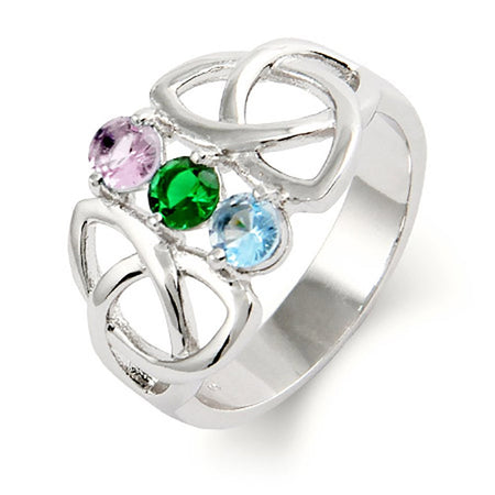 display slide 1 of 4 - Customizable 3 Birthstone Celtic Trinity Ring - selected slide