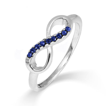 display slide 1 of 3 - Petite Infinity Sapphire CZ Promise Ring - selected slide
