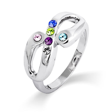 Infinity Family 6 Birthstone Silver Ring