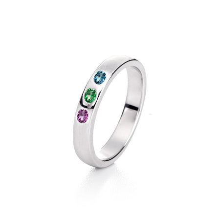 Sterling Silver 3 Stone Birthstone Family Ring