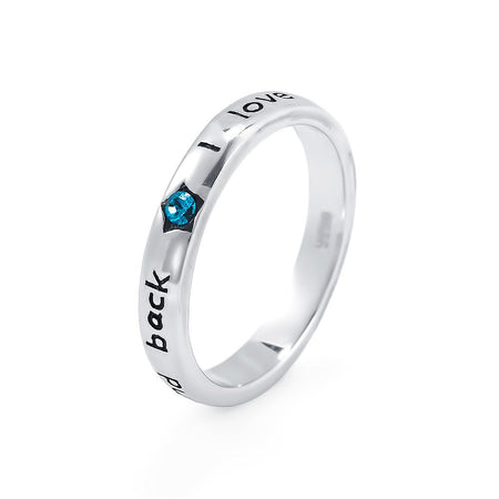 I Love You To The Moon and Back Thin Birthstone Band