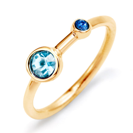 display slide 1 of 4 - Mother and Child Custom Birthstone Gold Ring - selected slide