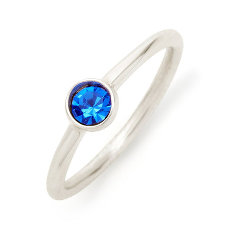 display slide 1 of 6 - CZ Personalized Birthstone Ring in Sterling Silver - selected slide