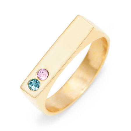 display slide 1 of 4 - Two Birthstone Gold Plated Custom Name Bar Ring - selected slide