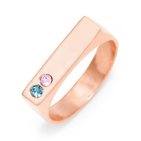 Custom Made 2 Stone Name Bar Ring in Rose Gold