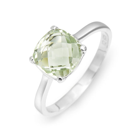 display slide 1 of 3 - Green Amethyst Cushion Cut Stone Birthstone Ring in Silver - selected slide