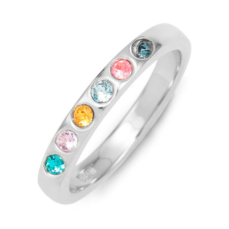 display slide 1 of 3 - Customizable 6-Stone Birthstone Cubic Zirconia Silver Ring - selected slide