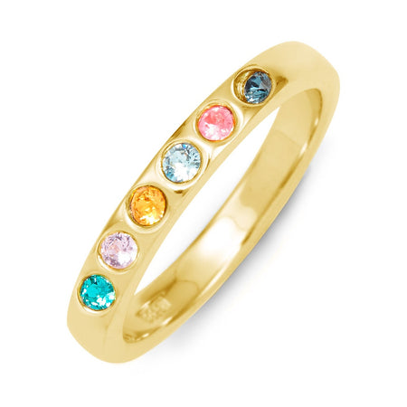 6 Stone Birthstone Gold Ring