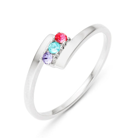 3 Stone Birthstone Silver Bypass Ring