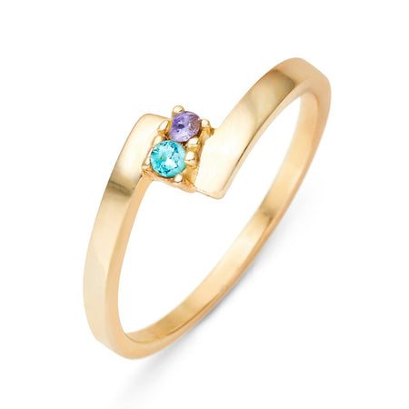 2 Stone Gold Bypass Ring
