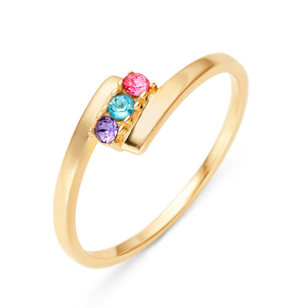 display slide 1 of 7 - 3 Stone Birthstone Gold Bypass Ring - selected slide