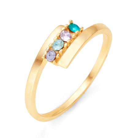 4 Stone Birthstone Gold Bypass Ring