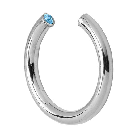 March Silver Birthstone Ring Cuff With Crystals