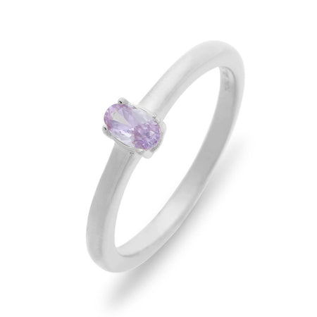 Petite Oval 1 Stone Sterling Silver Birthstone Ring