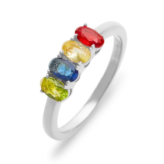 Petite Oval 4 Stone Sterling Silver Birthstone Ring