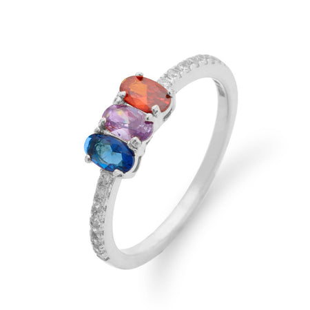 3 Stone Oval Birthstone Pave Band Silver Ring