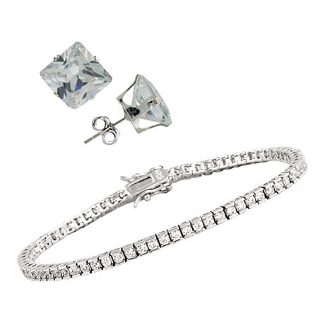 CZ Tennis Bracelet and Earring Set