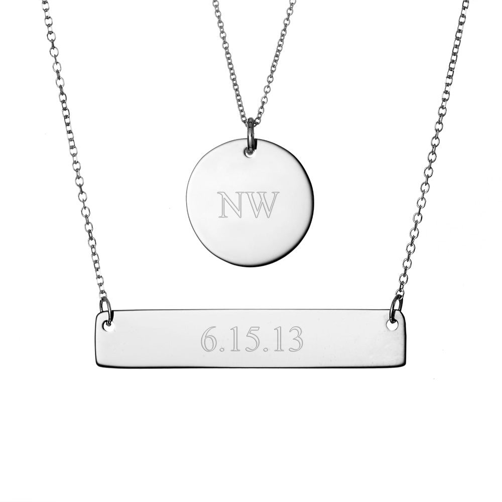 Name Necklace Handstamped Petite Disc /& Tag Necklace set Personalised Necklace Stainless Steel Necklace Layering Necklace